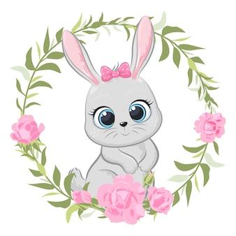 Banny mignon avec des fleurs et une couronne. illustration vectorielle de dessin animé.