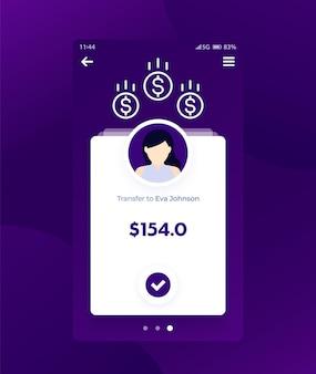 Banque, application de finance, interface utilisateur mobile