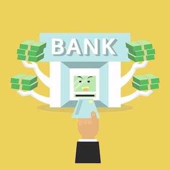 La banque donnera de l'argent pour l'homme