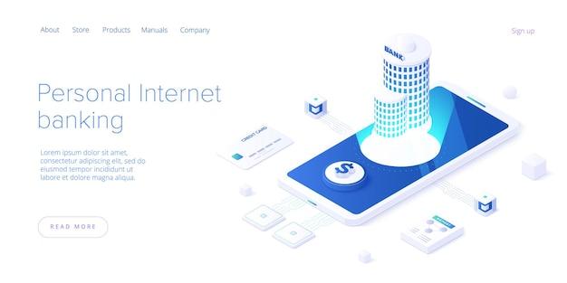 Banque internet personnelle et concept de transaction d'argent dans la conception isométrique. transfert de paiement ou dépôt et investissement. modèle de mise en page de bannière web.