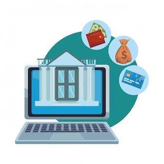Banque en ligne depuis un ordinateur portable