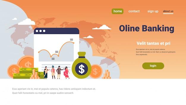 Banque en ligne graphique d'argent richesse richesse bannière
