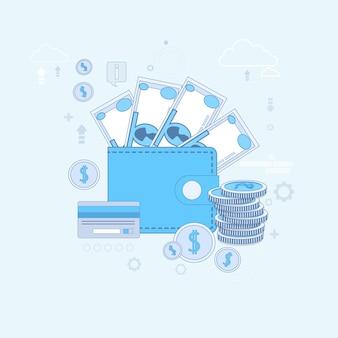 Banque en ligne internet paiement électronique argent carte de crédit portefeuille vector illustration