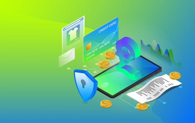 Banque mobile, banque en ligne, système de banque en ligne, système de paiement en ligne, utilisation de l'application de banque mobile, premium vector