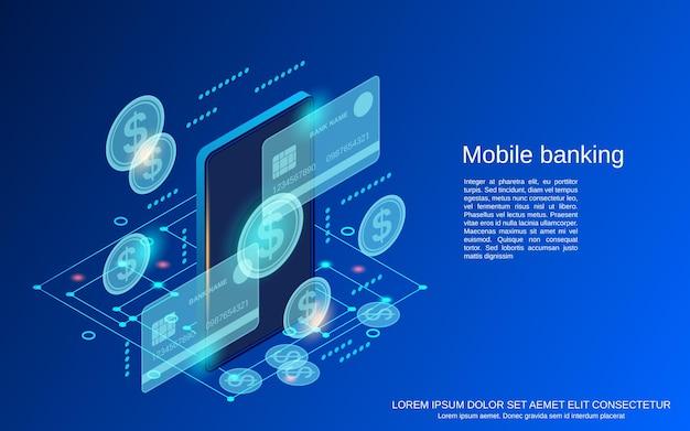 Banque mobile, plat, 3d, isométrique, vecteur, concept, illustration