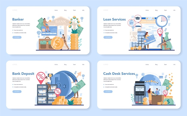 Banquier ou banque bannière web ou ensemble de pages de destination