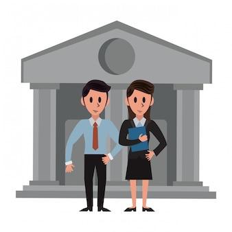 Banquiers sur le bâtiment de la banque