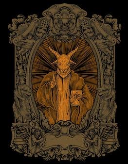 Baphomet effrayant d'illustration sur l'ornement de gravure