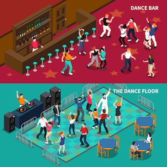 Bar dance floor 2 bannières isométriques