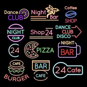 Bar, enseignes au néon de club de danse café isolés
