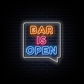 Bar est ouvert enseignes au néon modèle de conception enseigne au néon