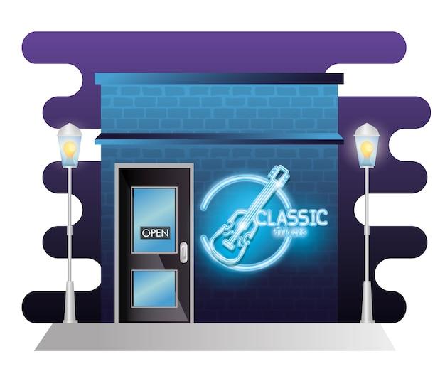 Bar façade de bâtiment de musique classique avec étiquette néon