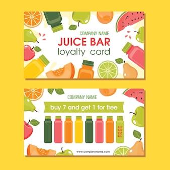 Bar à jus de carte de fidélité avec boissons en bouteille avec pomme, poire, pastèque, orange.