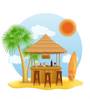 Bar sur la plage pour les vacances d'été dans un complexe sous les tropiques
