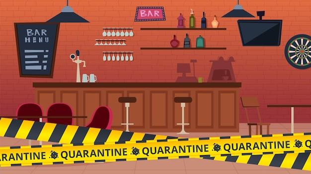 Bar de quarantaine fermé. épidémie mondiale et période d'isolement, bandes d'avertissement jaunes. illustration vectorielle de café intérieur