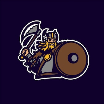 Barbare chevalier viking esport gaming mascotte logo modèle