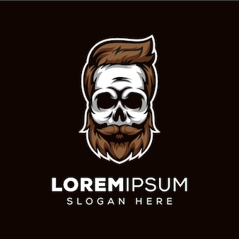 Barbe de crâne, modèle de logo de crâne barbier