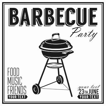 Barbecue, affiche de conception de fête de grillades, bannière