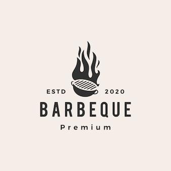 Barbecue au charbon de bois hipster vintage logo icône illustration