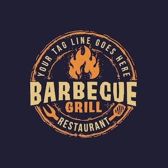 Barbecue badge emblème logo modèle barbecue grill texte modifiable