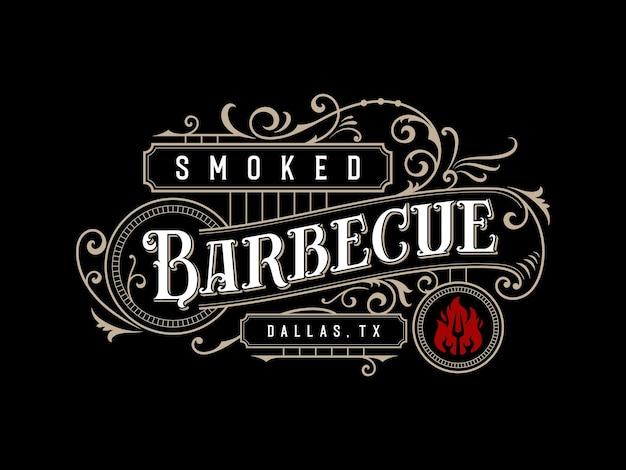 Barbecue barbecue bbq bar et grill création de logo de lettrage ornemental vintage
