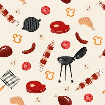 Barbecue barbecue seamless pattern