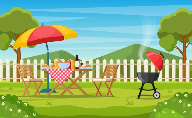 Barbecue dans la cour arrière avec clôture, arbres, buissons.