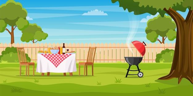 Barbecue dans la cour avec clôture
