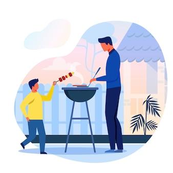 Barbecue dans la cour, plat de pique-nique