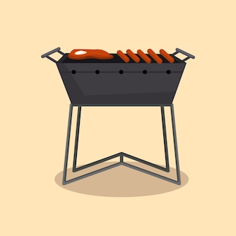 Barbecue ou grill cuisine de camping pique-nique. soirée barbecue. cuisine traditionnelle, icône de menu de restaurant. faire griller sur des charbons ardents. des grillades au charbon avec de délicieuses grillades de viande ou de saucisses.