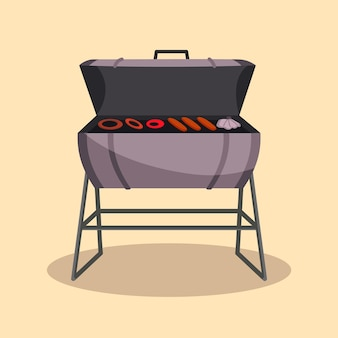 Barbecue ou grill cuisine de camping pique-nique. soirée barbecue. cuisine traditionnelle, icône de menu de restaurant. faire griller sur des charbons ardents. des grillades au charbon avec de délicieuses viandes grillées et des saucisses.