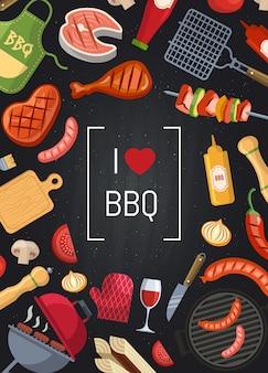 Barbecue ou grill avec des éléments à coke au tableau