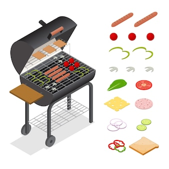 Barbecue isometric view charcoal kettle grill and products set.