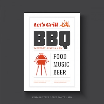 Barbecue parti vecteur flyer ou affiche conception modèle rétro typographie événement.