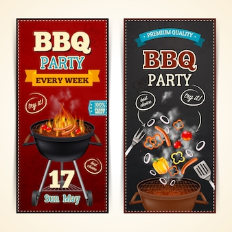 Barbecue party banners set