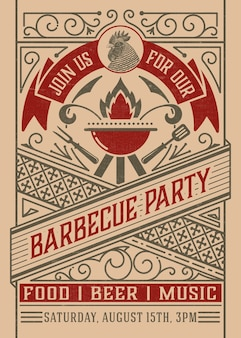 Barbecue party avec ornements vintage