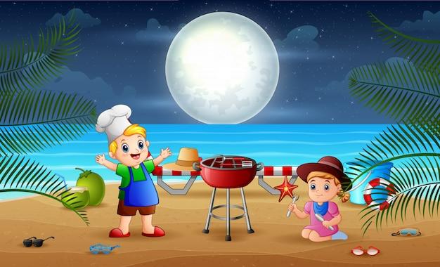 Barbecue en soirée avec de petits enfants