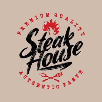 Barbecue steak house pub grill retro vintage hand drawn badge emblème logo modèle