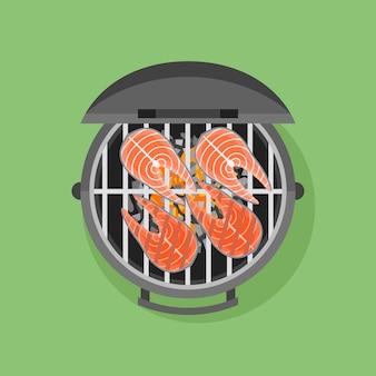 Barbecue et steak de saumon grillé dans un style plat.