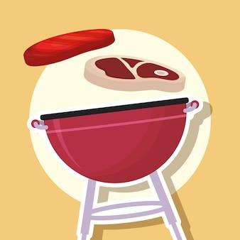 Barbecue avec des steaks de viande