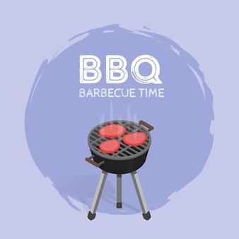 Barbecue, temps, barbecue, temps, vendange, graphique, vecteur, illustration