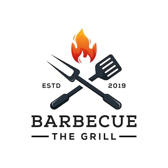 Barbecue le vecteur premium modèle de logo grill