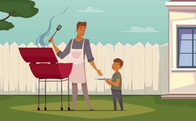 Barbecue de week-end d'été sur affiche de dessin animé rétro pelouse patio avec père barbecue