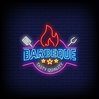 Barbeque logo neon signs style texte