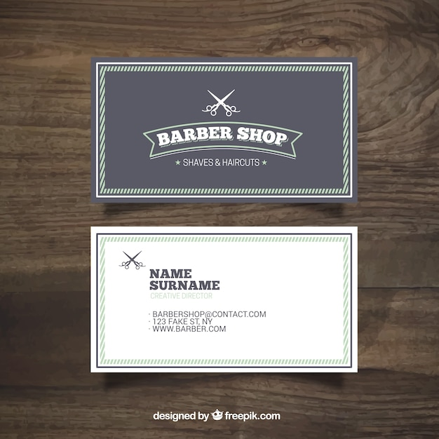 Barber carte boutique vintage