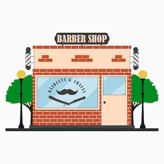 Barber shop façade de bâtiment avec enseigne barbier pôle moustache rasoir droit lampadaires