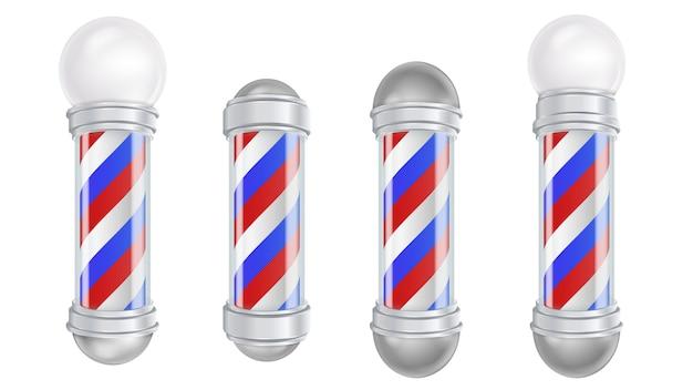Barber shop pole vector. pôle de coiffeur en verre et argent d'époque. rayures rouges, bleues et blanches. isolé