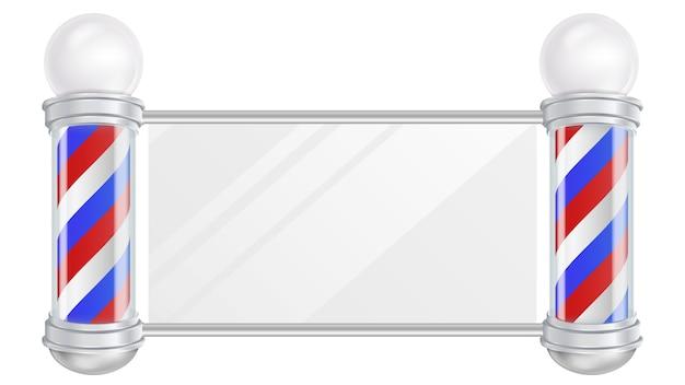 Barber shop pole vector. rayures rouges, bleues et blanches. bon pour le design, la marque, la publicité, illustration isolée