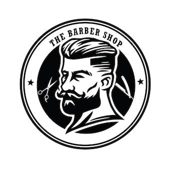 Barber shop vintage logo design vector label