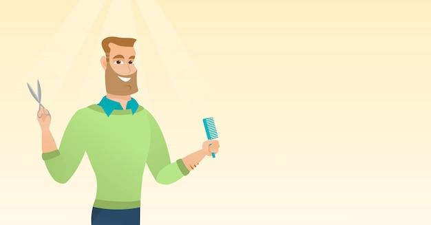 Barber tenant un peigne et des ciseaux dans les mains.